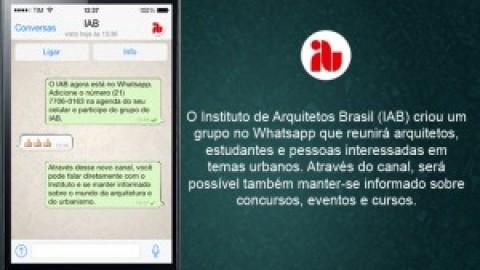 IAB, EM BUSCA DE JOVENS ARQUITETOS, CRIA GRUPO NO WHATSAPP