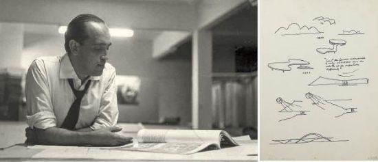 Foto de Oscar Niemeyer e croqui do projeto arquitetônico da Pampulha, construído em Belo Horizonte: atrações no acervo