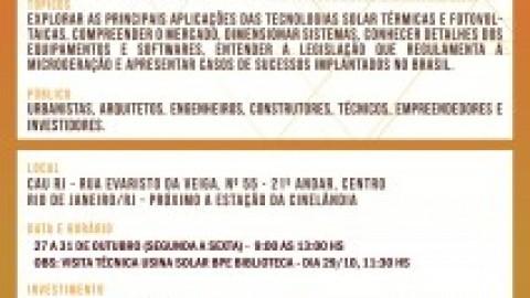 Curso de microgeração de energia solar é tema de curso no CAU/RJ