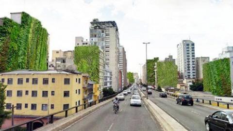 Prefeitura de SP implementará jardins verticais em edifícios próximos ao Minhocão
