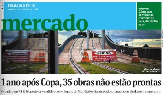 """Matéria foi publicada na página A17, capa do caderno """"Mercado"""" do último domingo (07/06)"""